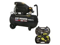 SEALEY SAC5020E 50L AIR COMPRESSOR DIRECT DRIVE 2HP + 83431 STORM FORCE 68 PIECE AIR TOOL KIT