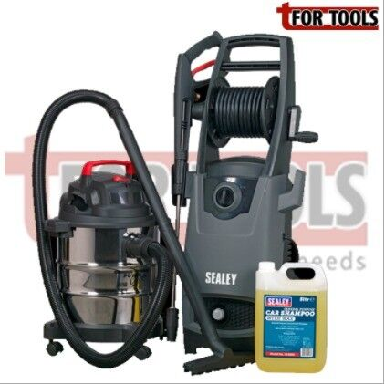 SEALEY CAR CLEANING KIT (INC PRESSURE WASHER & VACUUM CLEANER) PW2500 PC195SD SCS005