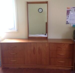 Triple Teak dresser with mirror