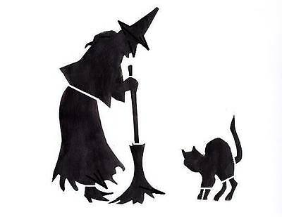 Halloween Stencil Witch with Black Cat Crafts, Signs