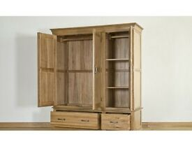 pair of free standing, oak, triple wardrobe (sold individually)