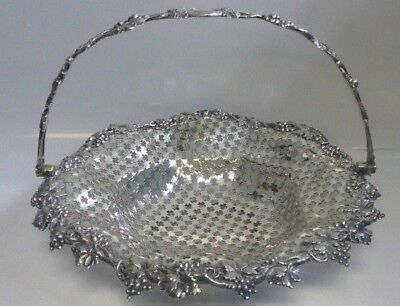 J & I Cox N.Y. ,Victorian Silvered Basket w/ Open Pierced & Grape pattern 1880's