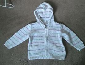 Next toddler girl white hoodie with colourful stripes, size 12-18 months