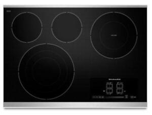 "KITCHENAID NEW KECC607BSS 30"" ELECTRIC, 4 ELEMENTS TAP TOUCH CONTROLS  CERAN COOKTOP (BD-1526)"