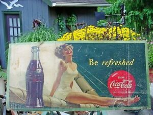 Antique large Coca Cola cardboard advertising sign London Ontario image 1