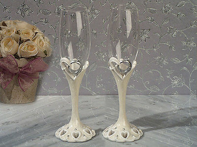 Two Hearts Become One Collection Flutes Set Wedding Rings Wedding Toast