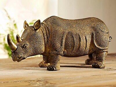 XXL Dekofigur Nashorn edle Deko Skulptur Figur aus Kunststein Afrika Design NEU