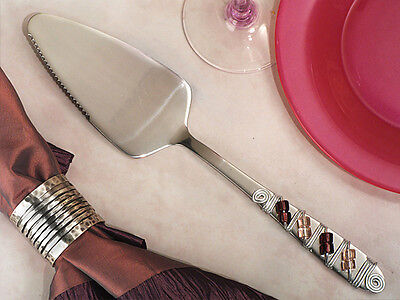 Murano Art Deco Collection Purple and Pink Beaded Wedding Cake Server