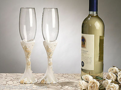Beach Flutes (Beach Theme Toasting Glasses Wedding Flutes Seashell )