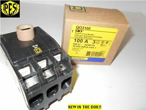 NEW IN BOX SQUARE D QO3100 3 POLE 100 AMP Circuit Breaker QO PLUG IN FITS NQOD