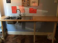Kitchen worktop with sink and tap - perfect for utility or temporary kitchen