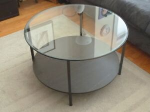 IKEA Leather Chair and Glass Coffee Table