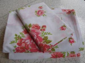 Vintage Wabasso Single Sheet Set, Pink Roses, NOS