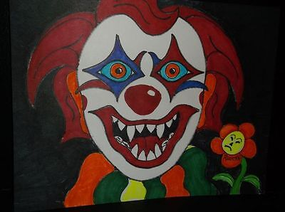 Scary Clown Drawing (Scary Clown No3 by the artist Rodster 11 X 8.5 - Ink drawing - BOO)