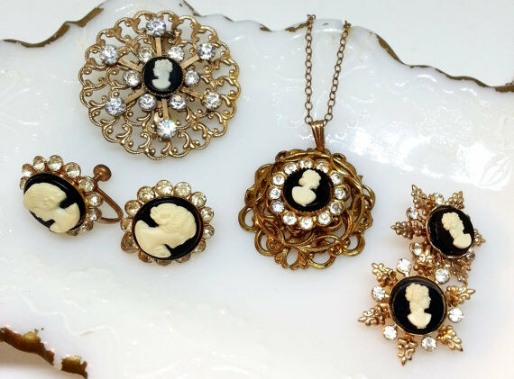 Vintage Cameo Collection Pendant Earrings Brooch Scatter Pins Rhinestone Jewelry