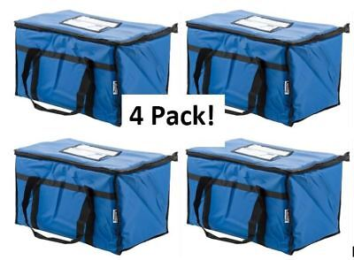 4 Pack Insulated Food Delivery Bag Pan Carrier Blue Nylon 23 X 13 X 15