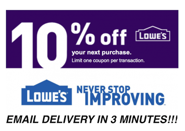 Купить Lowes - THREE 3x Lowes 10% OFF 3Coupons Discount - Lowe's In store/online -FAST Delivery