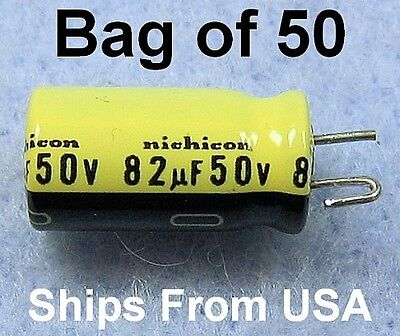 50ea 82 Uf 50v Nichicon Electrolytic Capacitor, Radial Wire Leads Ufd Caps
