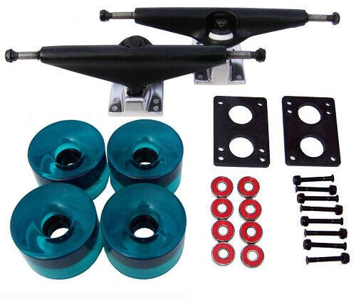 RADIUS LONGBOARD Skateboard TRUCKS 76mm WHEEL Package! BLACK/AQUA