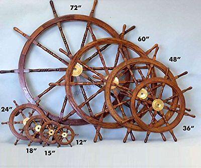 Nautical Wooden Ship Steering Wheel Pirate Decor Wood Brass Fishing Wall Boat 24