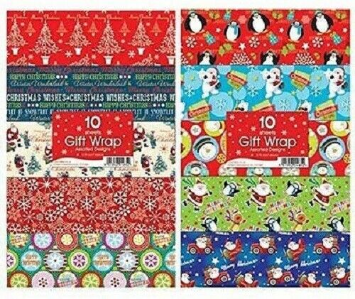 30 x Sheets of Christmas Xmas Present Gift Wrapping Paper Assorted Designs