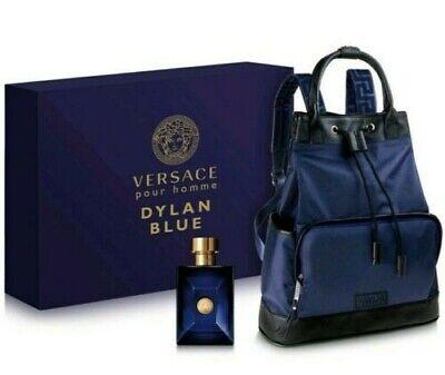 Versace Mens Dylan Blue Backpack and Cologne 2 PC Gift Set  Blue 3.4 FL OZ