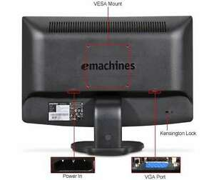 "Emachines e180hv 18"" LCD Monitor 1366 x 768 Resolution:"