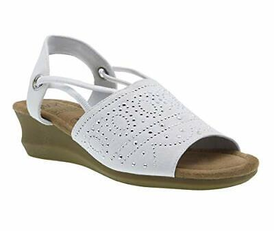 Impo GABRIA Stretch Wedge Sandal with Memory Foam, White, Size 9.5 qGCI
