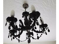 Gothic Black Chandelier 5 Arm Jewel Droplets stunning used ext condition