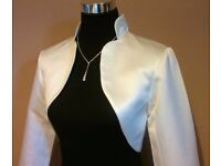 IVORY SATIN BRIDAL / BRIDESMAID BOLERO SIZE 12, BRAND NEW