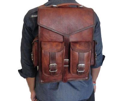Mens Vintage Genuine Leather Laptop Backpack Rucksack Messenger Bag Satchel NEW Eco Friendly Messenger Bag