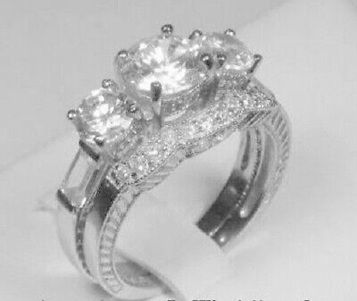 2.95 Ct Round cut Diamond Three Stone Engagement Ring Bridal set White Gold ov  Round Bridal Set