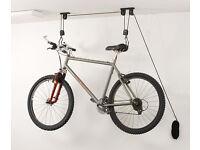 Bicycle pulley. Hoist, storage, bike, cycle, garage roof.