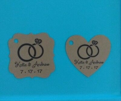 24 Personalized Wedding /Bridal Shower rings favor tags. You choose shape!  - Wedding Favor Tags