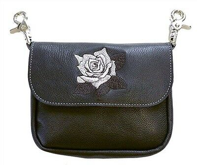 Genuine Leather Belt Bag - Hip Clip Purse - Embroidered Silver Rose - USA -