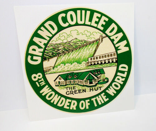 Grand Coulee Dam Round Vintage Style Travel Decal / Vinyl Sticker, Luggage Label