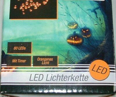 80 LED Halloween Kürbis Lichterkette orange Party Beleuchtung - Led-halloween