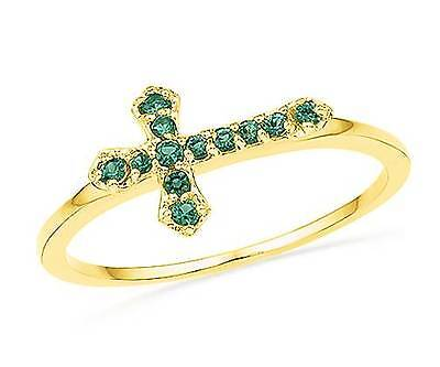 Created Emerald Cross - Gold Cross Ring 10K Yellow Gold Lab Created Emerald Sideways Cross Ring .12ct
