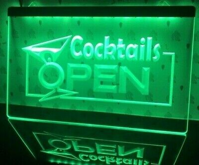 Cocktails Open Led Neon Bar Sign Home Light Up Pub Custom Cocktail Club Glass