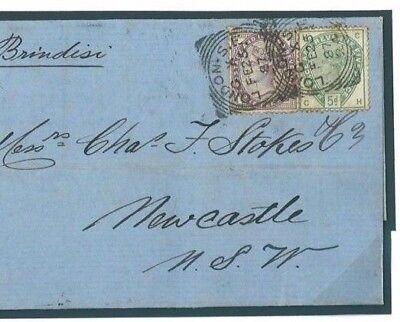 GB SG.193 Cover AUSTRALIA MAIL 1887 London SQUARED CIRCLE 5d Green Cat £350 584b