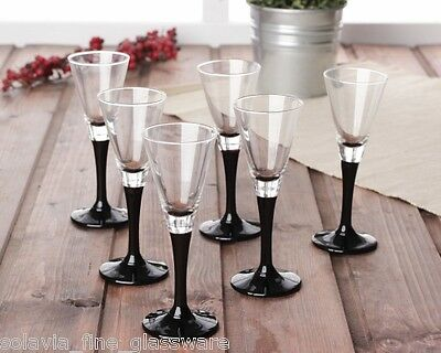 Elegant Tall Black Stem | Liqueur | Shot | Sherry Glass - 50ml, Set of 6 Tall Shot Glass