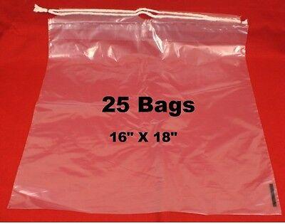 "25  Drawstring Tote Shoe Bag Clear Plastic Bags 16"" X 18""  NEW"