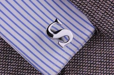 Men Personalized Initial Cufflinks Letter Silver Cuff-links