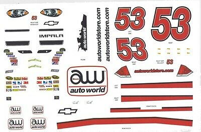 #53 AUTOWORLD NASCAR 1/64th HO Scale Waterslide Decals SLOT CAR for sale  Shipping to India