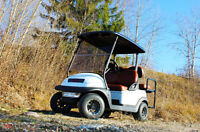 Custom Pearl White Electric Four Seat Golf Cart