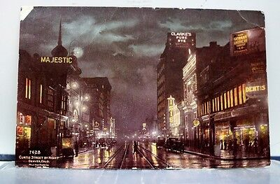 Colorado Co Denver Curtis Street Night Postcard Old Vintage Card View Standard
