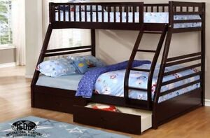 SOLID WOOD TWIN OVER DOUBLE BUNK BED WITH DRAWERS ON SALE NOW