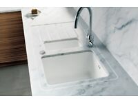 Luxury White Kitchen units Of Quartz Worktop in UK - Discounted Offer for Customer