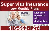 Super Visa Insurance at low monthly plans call 416.992.1274