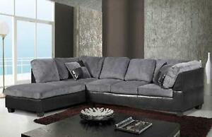 Beautiful Grey Imitation Suede Sectional Sofa For Sale